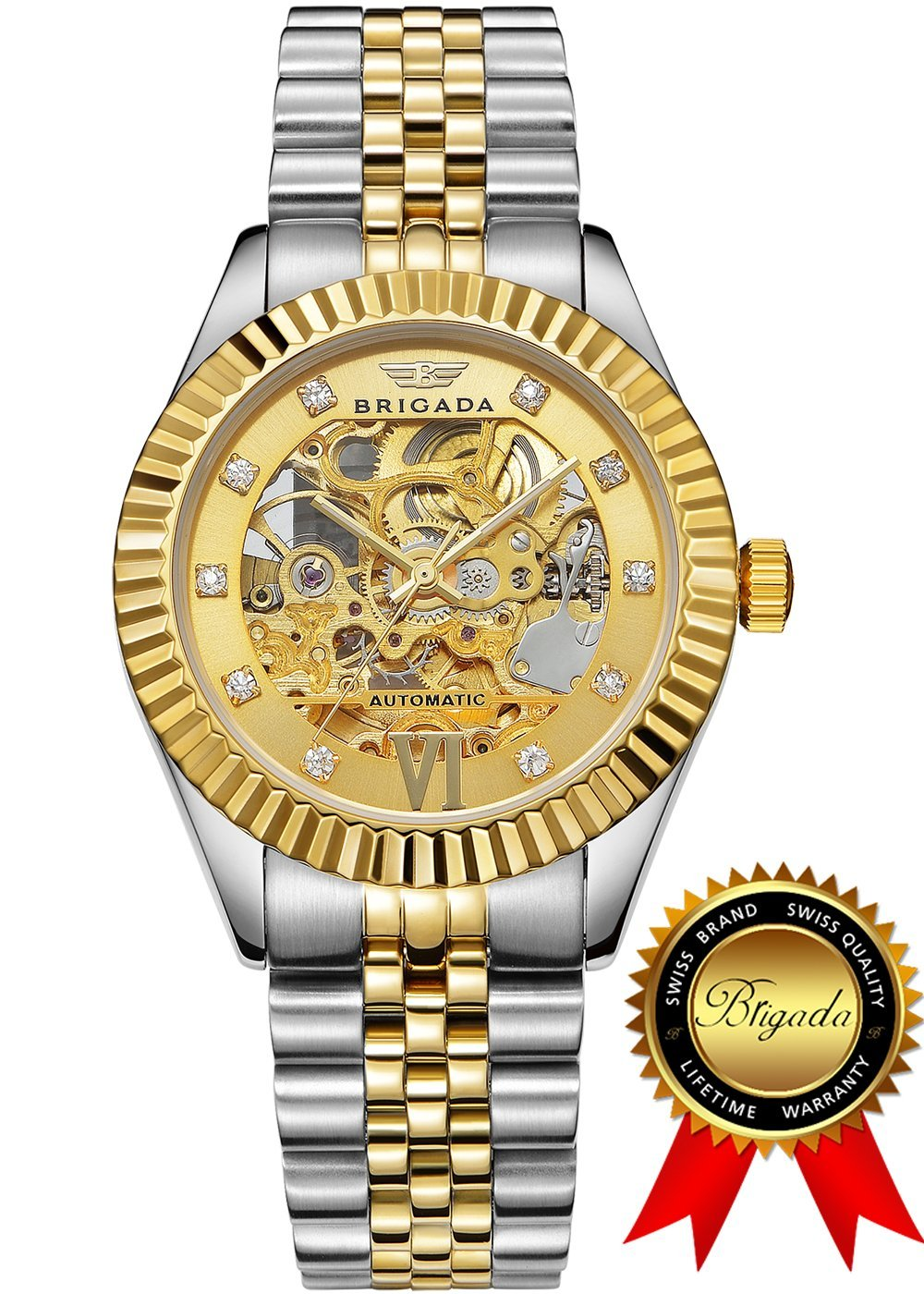 BRIGADA Swiss Watches Luxury Gold Automatic Watches for Men, Nice Mechanical Men's Watches, Great Gift for Families, Lover, Friends or Yourself (38 mm, not fit for big wrist)