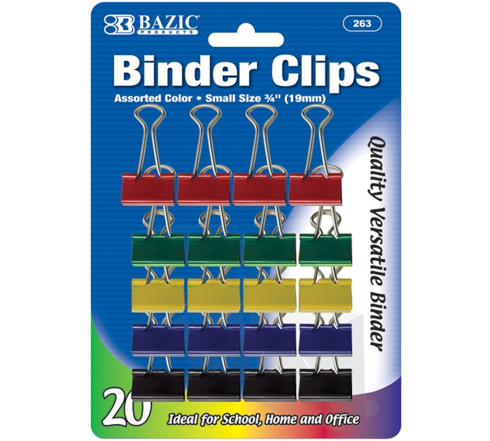 """BAZIC Small 3/4"""" (19mm) Assorted Color Binder Clip (20/Pack)"""