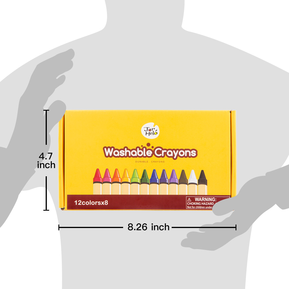 Kids Washable 12 Colors 8 Packs Bulk Set Crayons