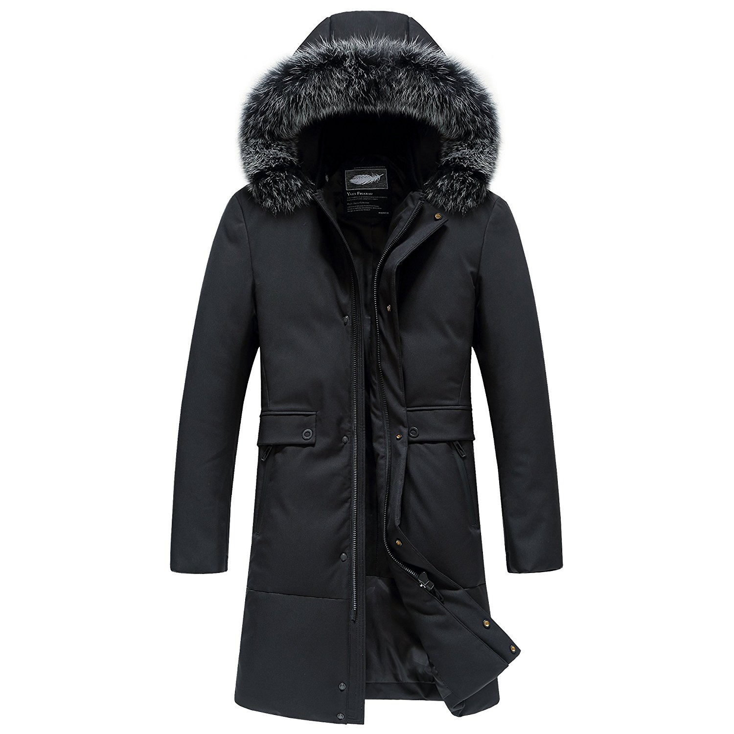 57f4fe392c Get Quotations · SUNNY SHOP Packable Down Jacket Men Hooded Long Down Coat  With Fur Hood Puffer Long Parka