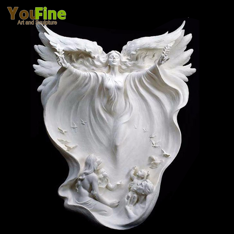 High Quality White Marble Angel Girl Statue With Wings