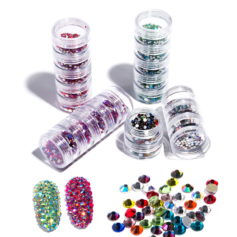 Queen Fingers 5 Layer Fashion Jar Storage Packing Mix Sizes SS3/4/6/8/10 Nail Art Rhinestone Crystal, 4 colros