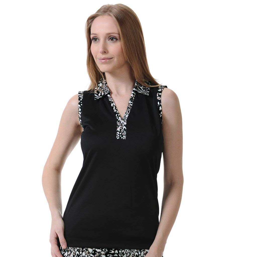 Monterey Club Ladies Dry Swing Woven Print Contrast Sleeveless Polo Shirt #2631