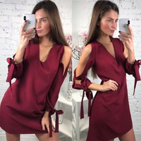 2018 Women's Summer Sexy V-neck Off Shoulder Dresses Casual Long Sleeved Bow Loose Dress Elegant Straight Beach Hot Mini Dress