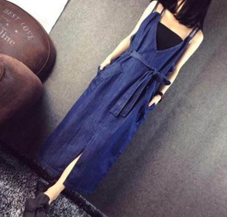 X83200B Latest korean style woman long denim dress ladies modest casual sexy jean dresses