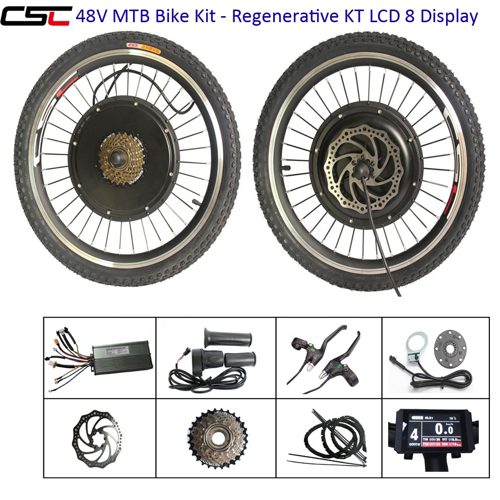 ebike Bicycle Conversion kit 48V 1000w lcd 8 Front/ Rear Wheel Hub Motor Wheel Brushless Electric bike kit with optional battery