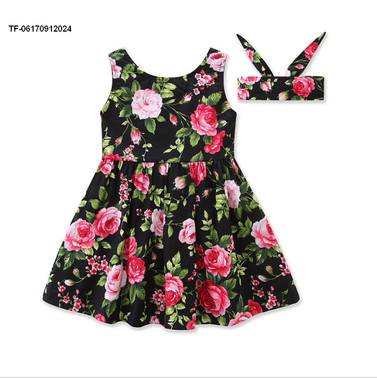 Hot Flower Baby Girls Party dress,Sleeveless Dress+hair wear 2pcs set on sale