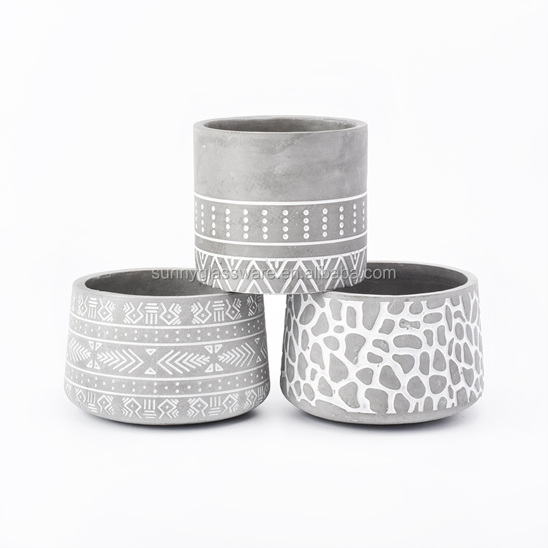 cylinder gray concrete candle jars with logo