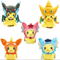 25cm Poke Plush toys Pikachu Cosplay Mega Charizard Cotton Stuffed Animals Dolls Children Dolls