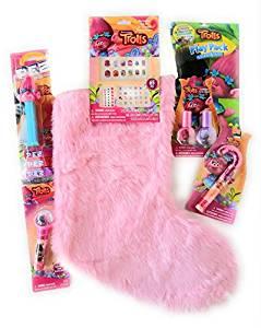 Trolls Christmas Stocking Bundle with SIX Stocking Stuffers, Trolls Lip Balm/Bouncy Ball, Trolls Poppy PEZ, 2 Nail Polish and Decorative Kits, Pack n Play, Candy Cane Lip Gloss!