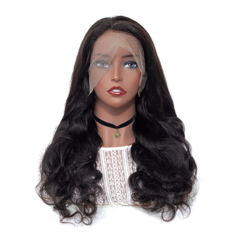 Lace Front Wig Brazilian Hair Natural Color 1b 100% Human Hair Wigs ... 9cacbba600b4