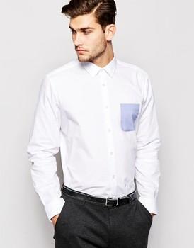 5ede9be2f Mens Formal camisa blanca con bolsillo en contraste de ropa para hombre