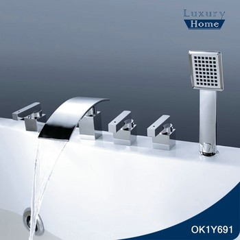 Professional Makde 5 Holes 3 Handle Bath And Shower Faucet