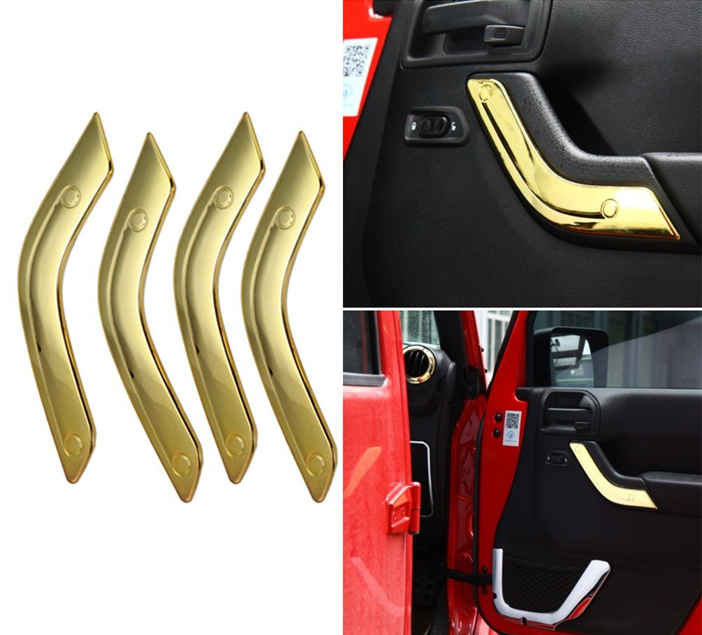 Bolaxin 4 pcs ABS Gold Car Interior Door Handle Cover Trims For 4 Door Jeep Wrangler JK 2007-2016