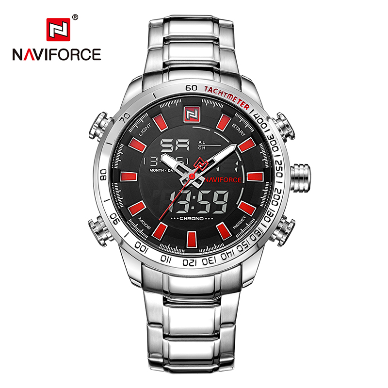 NAVIFORCE 9093 Mens Quartz Digital watches Stainless Steel LED 30M Waterproof China Brand Watch relojes, As picture
