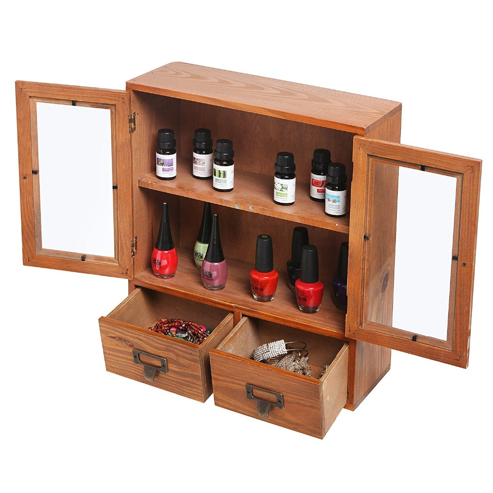 Mini Tabletop Wood Display Cabinet Shadow Box with Glass Doors 2 Shelves & 2 Drawers.