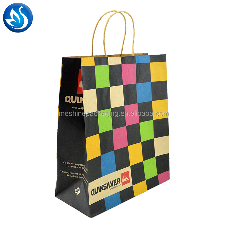luxury custom print matte shopping paper bag with logo for clothing packaging