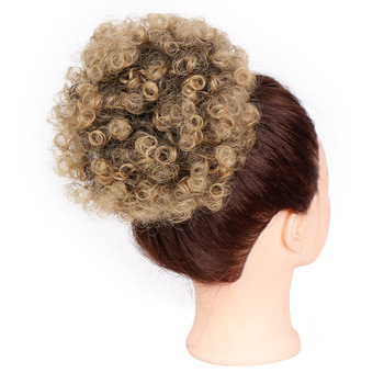 Aisi Hair Women's Synthetic Puff Afro Short Kinky Curly Hair Bun T1B 27# Drawstring Ponytail Chignon For Black Women