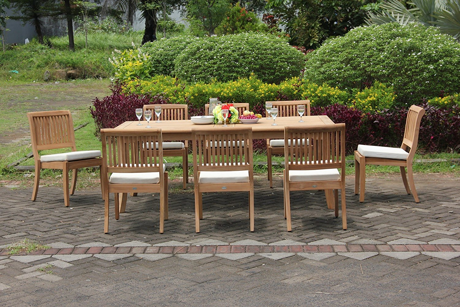 """TeakStation 8 Seater Grade-A Teak Wood 9 Pc Dining Set: 117"""" Double Extensions Rectangle Dining Table and 8 Arbor Stacking Armless Chairs #TSDSAB29"""