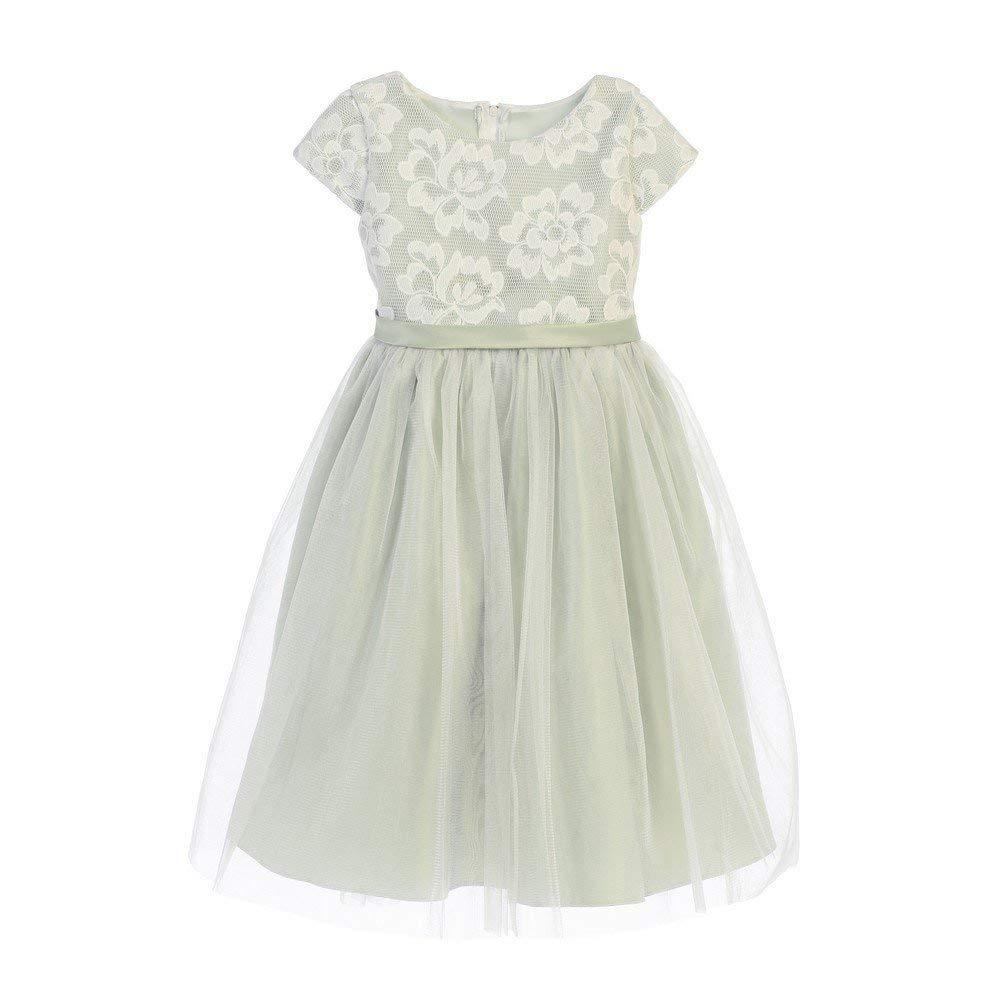 7364cd7e78a Get Quotations · Sweet Kids Little Girls Sage Floral Sponge Mesh Tulle Flower  Girl Dress 2-6
