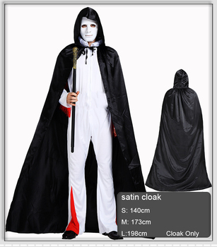 halloween costume adult cloak black wizard robe death vampires cosplay costume