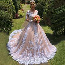 Бальное Платье Vestidos de Noiva, свадебное платье с кружевной аппликацией, пышное свадебное платье из тюля с длинными рукавами, Casamento Mariage, 2019(China)