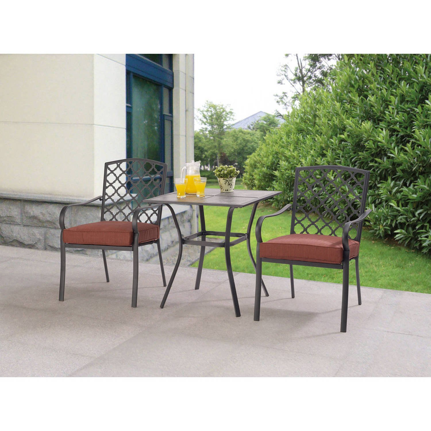 3-Piece Bistro Set, Includes Table and 2 Chairs, Durable, Powder-Coated Steel Frames, Reversible Cushions Come With Easy on and off Clip, 100% Outdoor Printed Fabric, Easy to Assemble