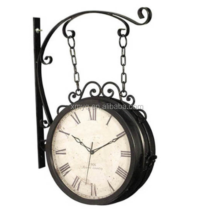 Whole Antique Double Sided Clocks Lighted Beautiful Iron Wall Clock
