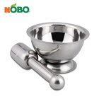 Heavy Duty Kitchen Pharmacy Granite Tools Hand Masher Mixer Stainless Steel Molcajete with Mortar Pestle