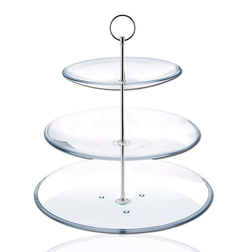 SODIAL(R) 8 Sets 3 Tier Cake Plate Stand Handle Fittings silver for Tea Shop Room Hotel