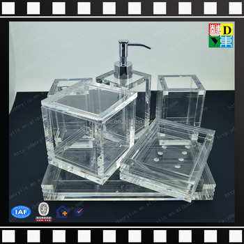 2016 Wholesale Acrylic Hotel Balfour Bathroom Accessories/transparent Acrylic  Bathroom Set For Hotel Made In