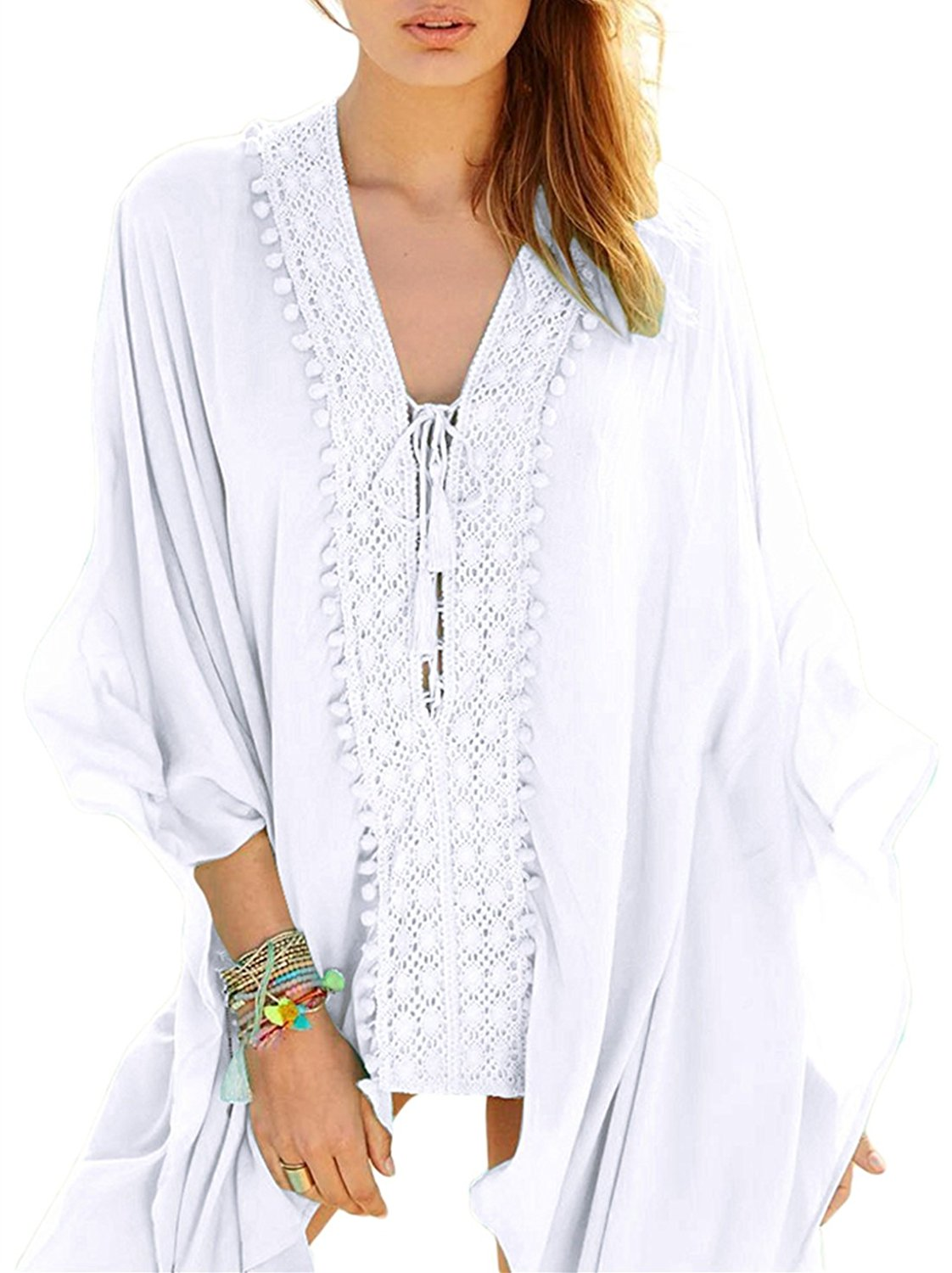 d9f2f4d80644 Get Quotations · Milliwin Women White Crochet Applique Tassel Tie Beach  Kaftan Bikini Cover up Beach