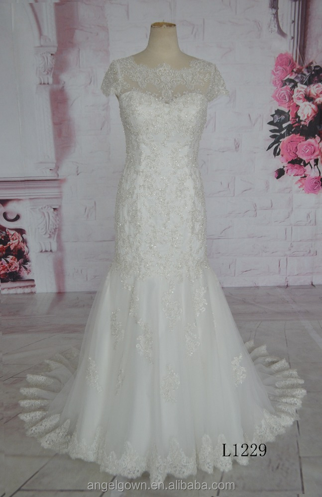 elegant boat neck high quality wholesale price wedding gown mermaid gown