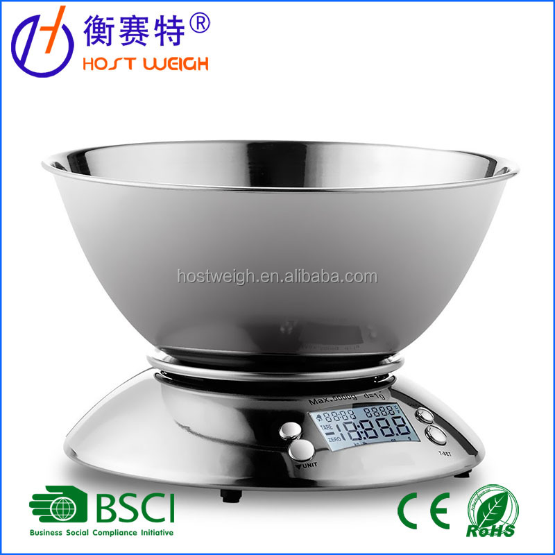 11lb/5kg Accuracy Food Scale Multifunction Kitchen Scale with Bowl, Stainless Steel, 2.15L Liquid Volume Alarm Timer Temperature