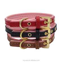 New pet warpping embroidered genuine leather dog training collars with leash