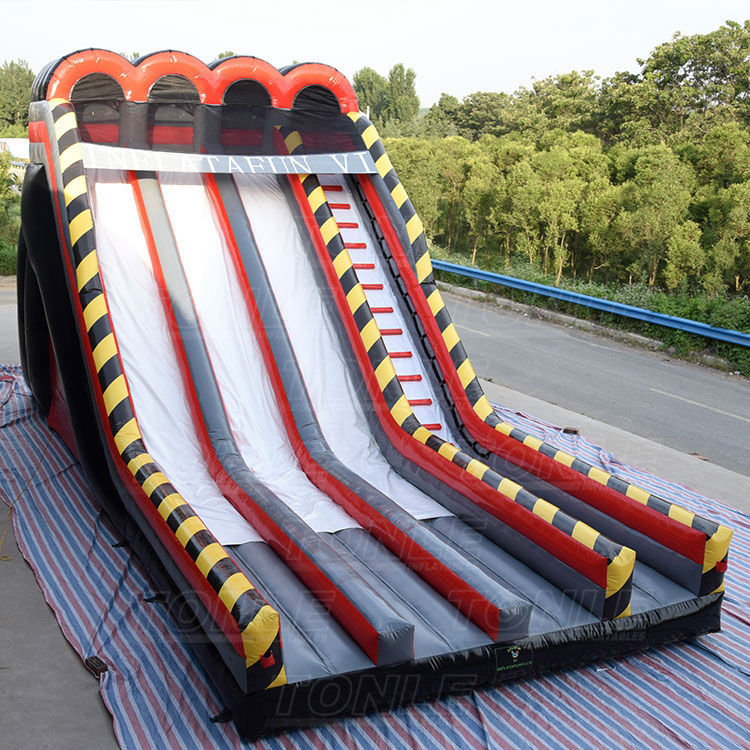 Massive 35' Tall triple lane Black Diamond The Edge giant inflatable Slide for adult and kids