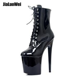 b5941c89d8ca Wholesale Cheap Pole Dancing Shoes 20cm Extreme High Heel Sexy Platform  Fancy Black Lace Up Zipper Ankle Boots Woman