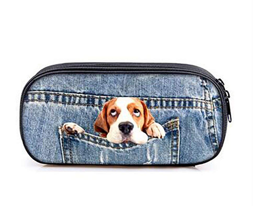 Pocket Pet Pencil Case Pen Bag Large Capacity Student Pencil-box Fashion Cute Animals Pencil Holders Cosmetic Bag Pouch (Doggie)