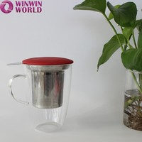 New Silicone Lid Stainless Steel Infuser Water Cup Glass