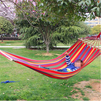 Woqi High Quality Portable Outdoor Garden Hang Bed Travel Camping Swing Canvas Stripe Rainbow Hammock With Wooden