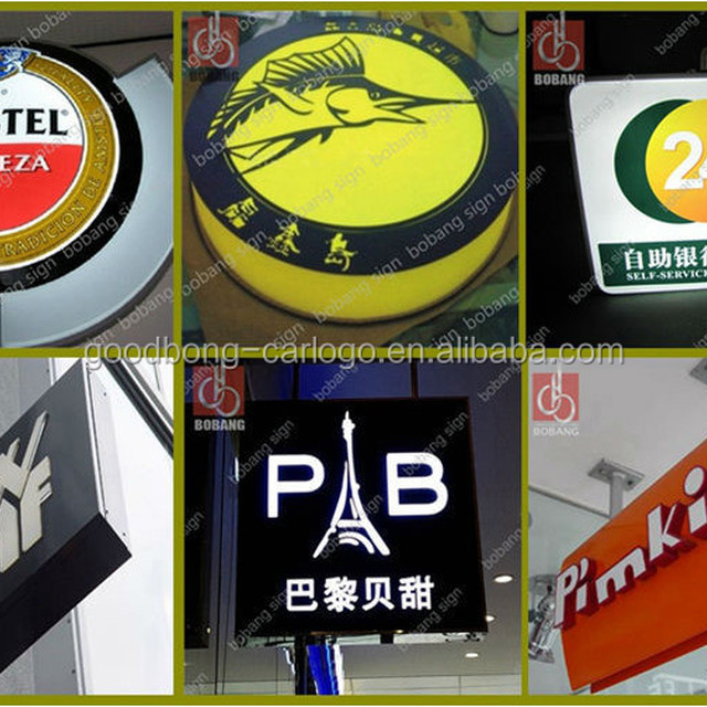 Different shape light box with channel letters for advertisement