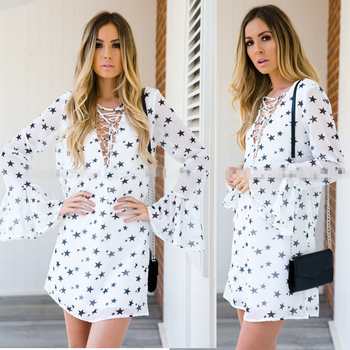 304d788b54 Casual Dress For Beach Party Sexy Ladies Summer Floral Star White New  Feeling Clothing Latest Fashion