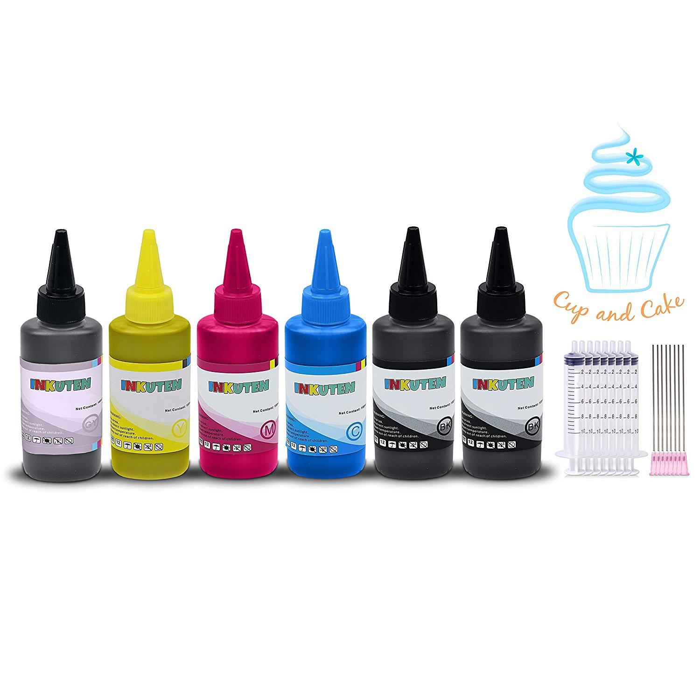 INKUTEN Edible Ink Refill Kit for Canon PGI-270/CLI-271 - 600 ml Ink Bottles (6-Pack) BlacK, Photo Black, Cyan, Magenta, Yellow, Gray PIXMA MG7720, PIXMA TS8020, PIXMA TS9020