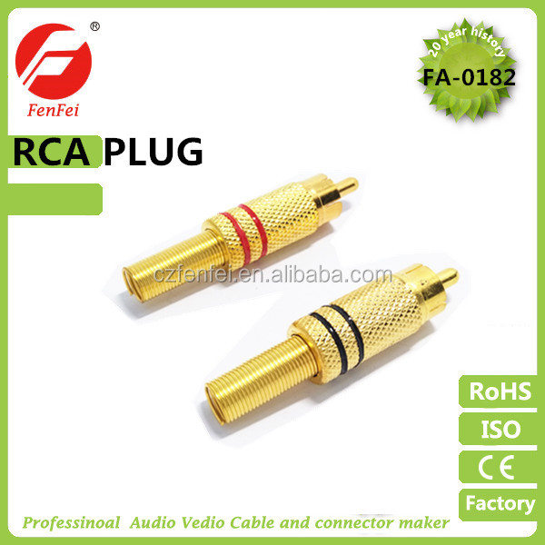 Gold RCA Plug End Gold Solderable Connection Male