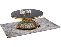 Cheap Modern black and white glass top stainless steel round coffee table