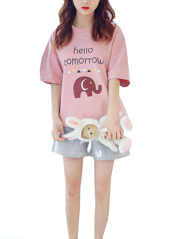 0e92f7563 Teen Big Girls Summer Pajama Set Lovely Elephant Print Sleepwear Loungewear  PJS
