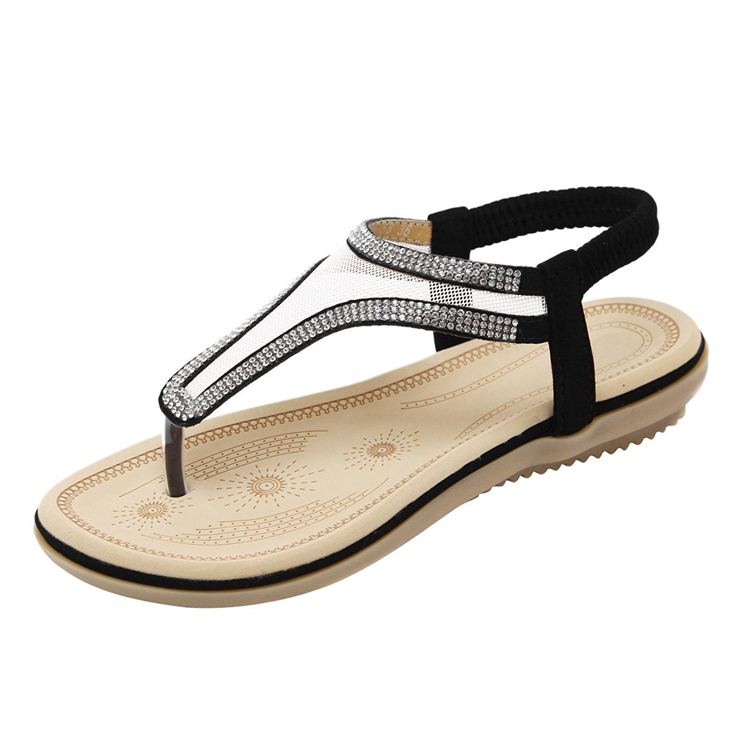 4614aabb3dcf Get Quotations · Dear Time Slingback Thong Sandals T-Strap Rhinestone Ankle  Strap Flip Flops