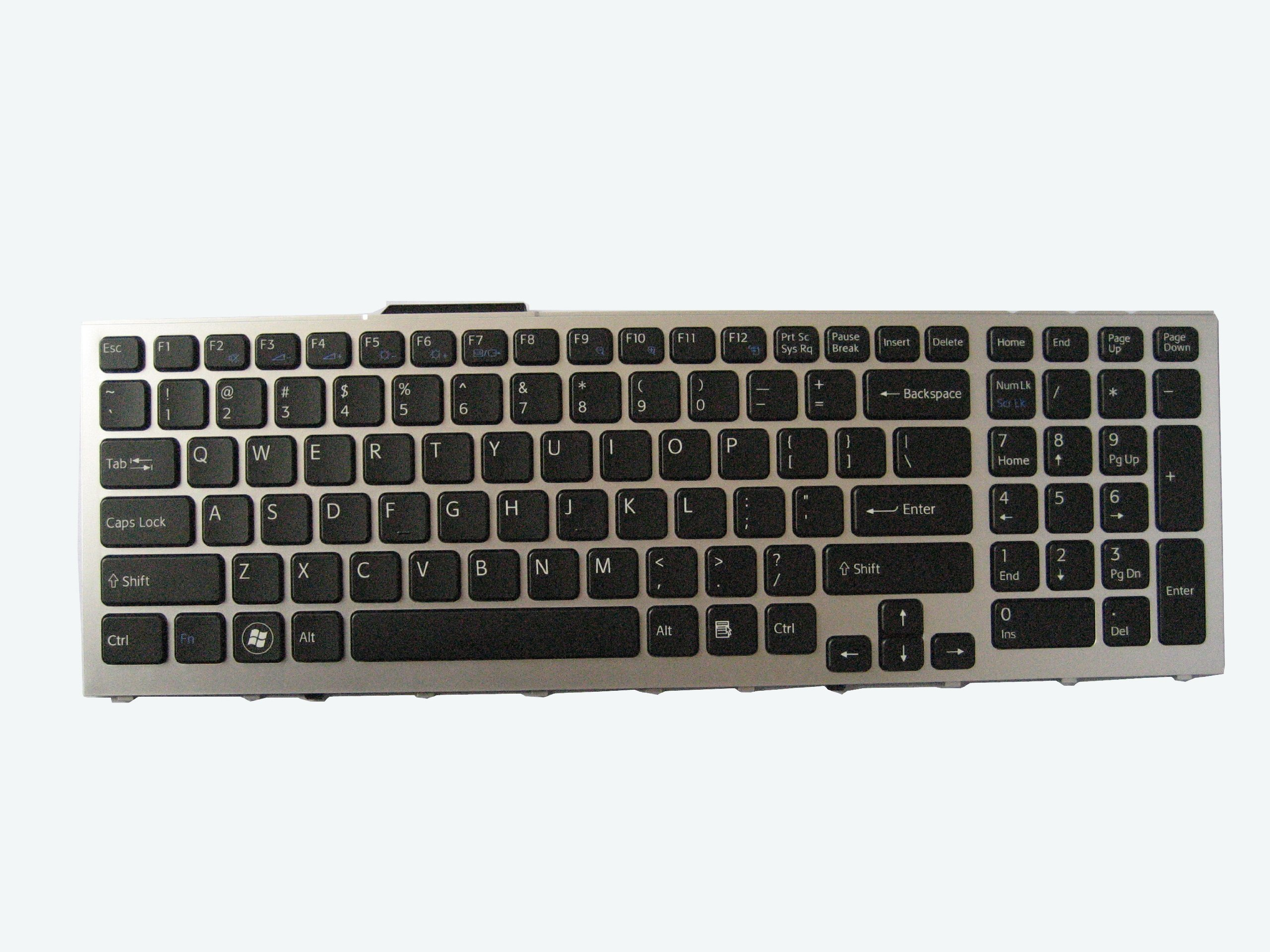 LotFancy Backlit Laptop Keyboard with Silver-Grey Frame for Sony Vaio VPC-F11 VPC-F119 VPC-F12 VPC-F13 VPCF11 VPCF12 VPCF13 PCG-8XXX Series Notebook US English Layout