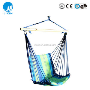 Outdoor Canvas Hanging Hammock Rope Swing Seat Chair with wood