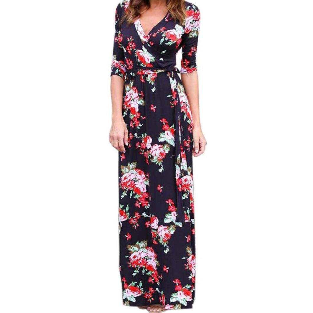 Women Boho Long Dress, Balakie Ladies V Neck Maxi Evening Party Beach Floral Print Dresses (M, Black)